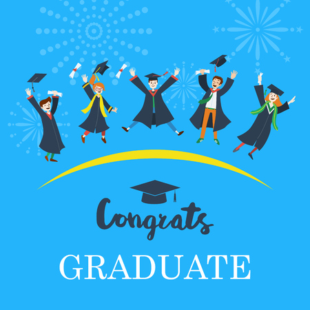 school: Flat design, Illustration of university students graduation jumping Illustration