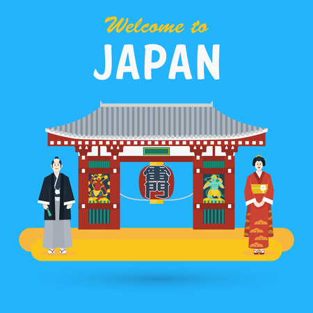 Flat design, Illustration of Japanese temple The Kaminarimon or Thunder Gate and Japanese people in traditional costume, vector