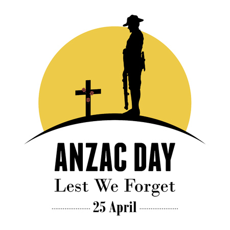 anzac: Silhouette of soldier paying respect at the grave, vector
