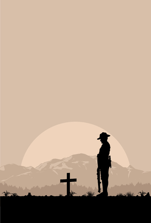 red sunset: Silhouette of soldier paying respect at the grave, vector