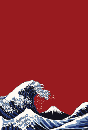 Ocean waves, Japanese style illustration Vectores