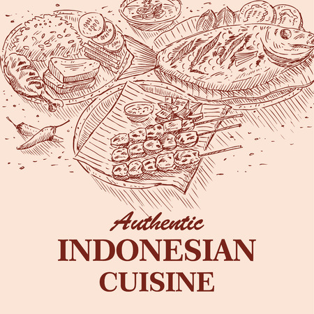 Hand Drawn of Indonesian Food, vector Illustration