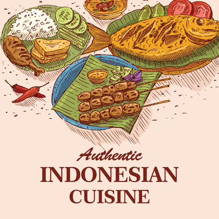Hand Drawn of Indonesian Food, vector Stock Illustratie