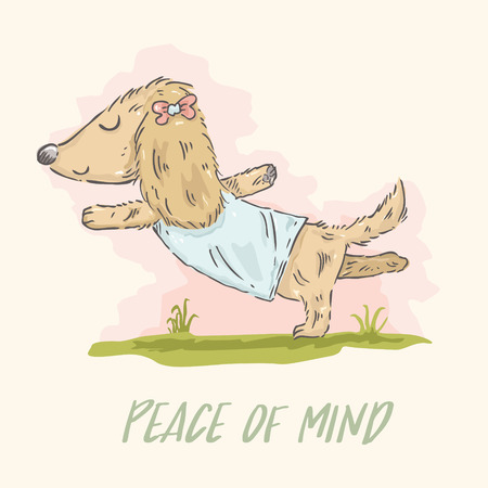 female animal: Cute cartoon Dachshund doing yoga in watercolor style. Illustration