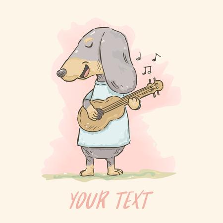 Hand drawn cute cartoon Dachshund playing guitar in watercolor style.