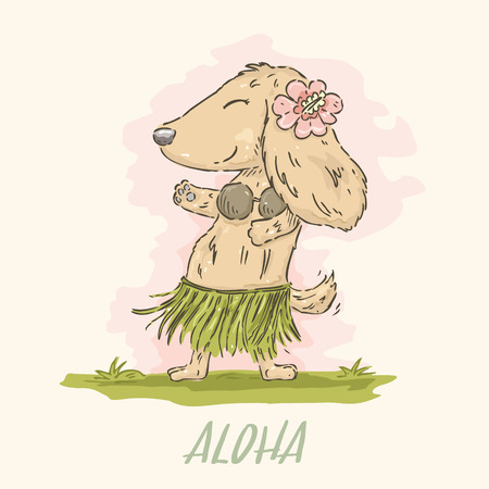 Hand drawn cute cartoon Dachshund in Hawaiian dancer costume in watercolor style.