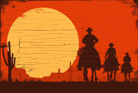 Silhouette of three cowboys riding horses on a wooden board Vectores