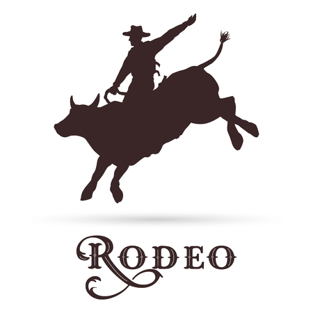 Silhouette of a cowboy riding bull, vector