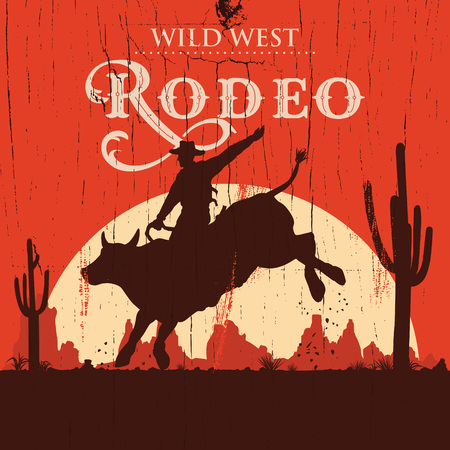 Rodeo cowboy riding bull on a wooden sign, vector