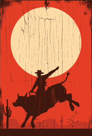 Silhouette of a cowboy riding bull at sunset on a wooden sign, vector
