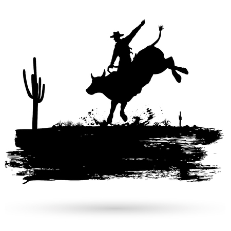 runge banner, Silhouette of a cowboy riding wild bull, vector