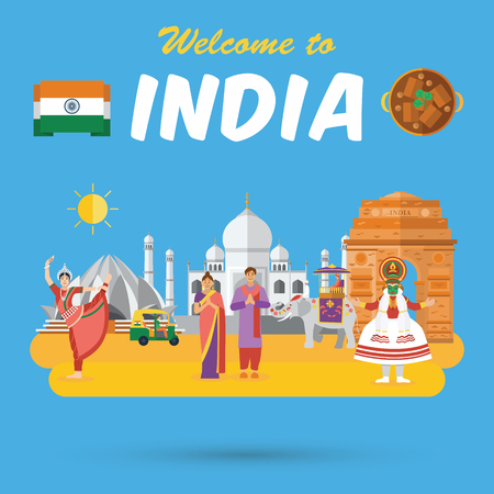 Flat design, Indians icons and landmarks, vector