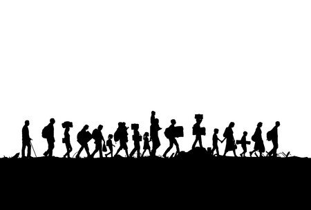 Silhouette of refugees people walking, Vector