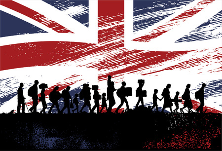 Silhouette of refugees people walking with flag of United Kingdom as a background