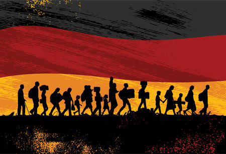 Silhouette of refugees people walking with flag of Germany as a background