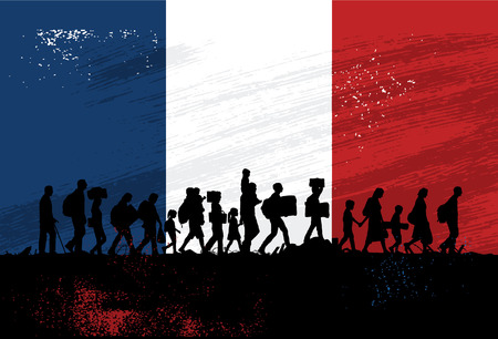 Silhouette of refugees people walking with flag of France as a background