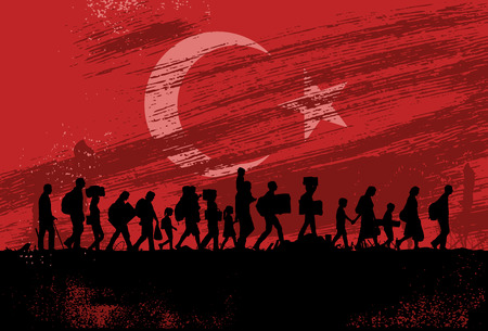 Silhouette of refugees people walking with flag of Turkey as a background