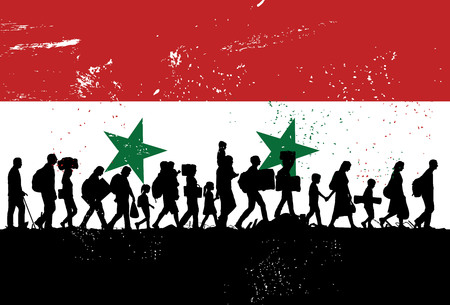 Silhouette of refugees people walking with flag of Syria as a background