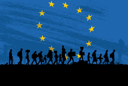 Silhouette of refugees people walking with The Flag of Europe as a background