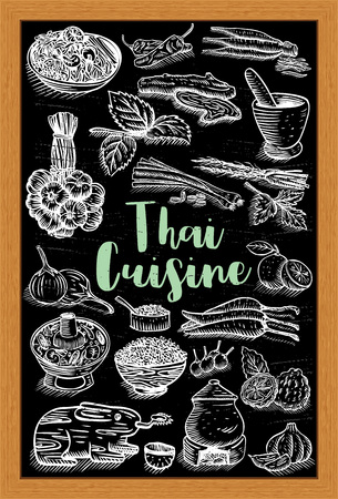 Hand drawn Thai food and herbs on a chalk board, vector Vectores