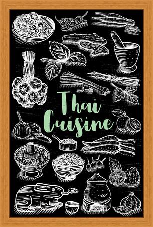Hand getekend Thais eten en kruiden op een krijtbord, vector