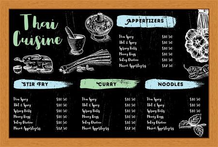 Hand drawn Thai food and herbs menu, vector Illustration