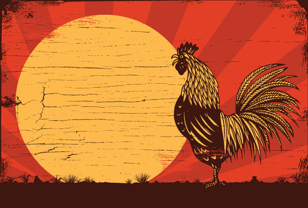 Drawing of rooster crowing at sunrise on a wooden sign, vector