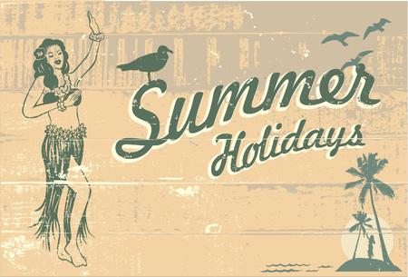 こんにちは夏の休日の木製看板