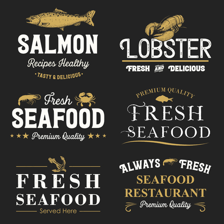 Collection of retro seafood labels and badges, Vector