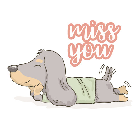Cute cartoon Dachshund wags his tail with text miss you, Vector