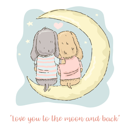Valentine's Day card, cute cartoon Dachshund  couple sitting on the moon  イラスト・ベクター素材