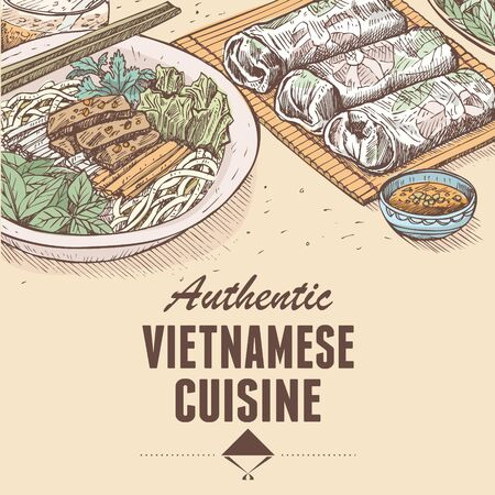 Hand drawn traditional Vietnamese food, Vector Illustration Illustration