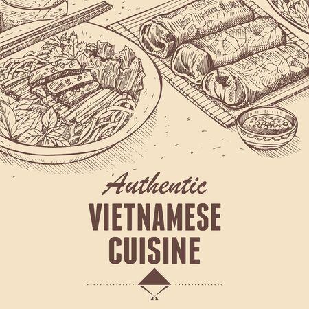 Hand drawn traditional Vietnamese food, Vector Illustration