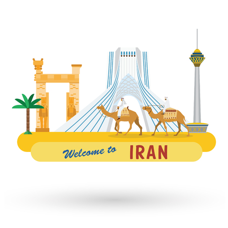 Flat design, Iran's landmarks and icons, Vector Illustration