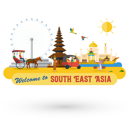 Flat design, South East Asias landmarks and icons, Vector