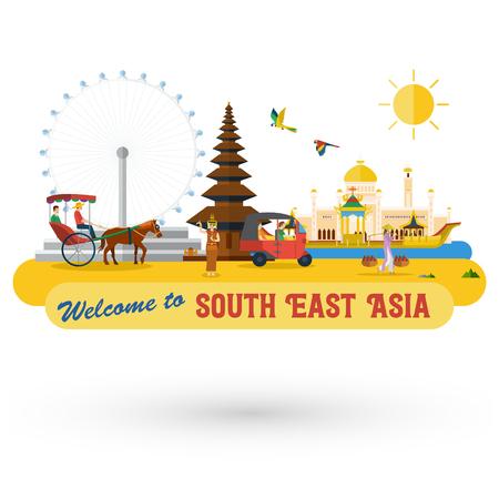 Vlakke vormgeving, landmarks en iconen van Zuidoost-Azië, Vector Stock Illustratie