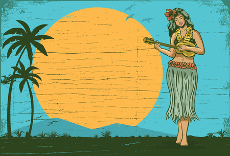 Hello summer sign board, Hula girl playing ukulele, vector Stock Illustratie