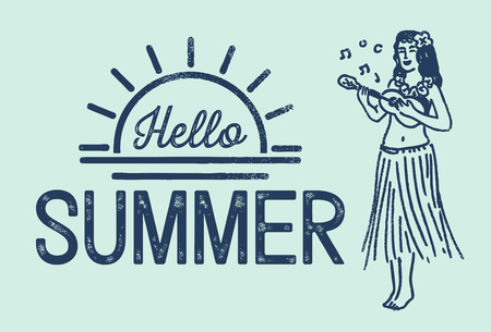 Grunge lettering hello summer with illustration of a hula girl playing ukulele, vector