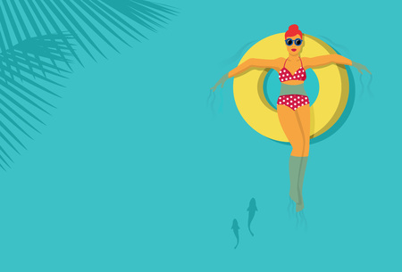 Illustration of beautiful woman relaxing on a rubber ring in the sea, vector 向量圖像