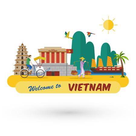 평면 디자인, 베트남 아이콘 및 랜드 마크에 오신 것을 환영합니다, 벡터