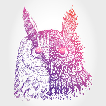 Abstract owl illustration, Vector