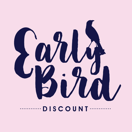 Early bird handwritten lettering, vector 向量圖像