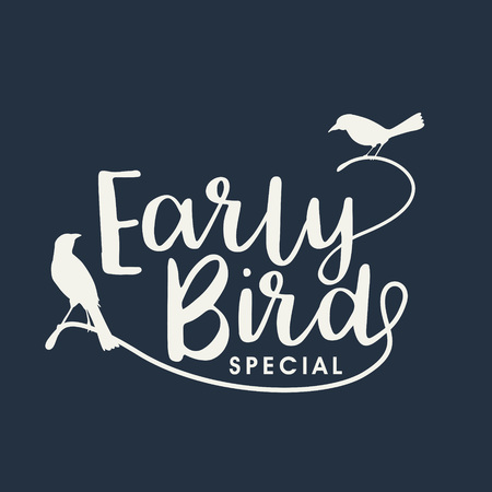Early bird handwritten lettering, vector Stock Illustratie