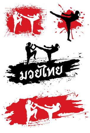 Silhouette of Thai boxing