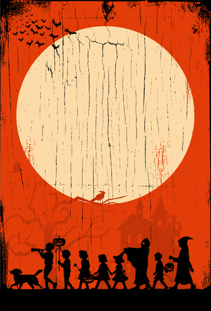 Silhouette of Children go trick-or-treating on Halloween on a wooden board