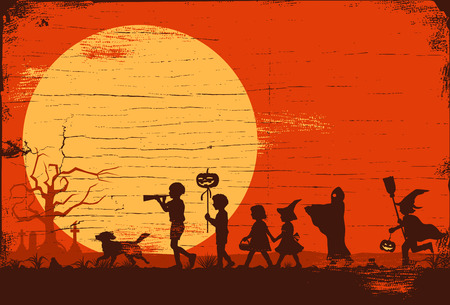 Halloween , Silhouette of children going trick or treating on a wooden board, Illustration