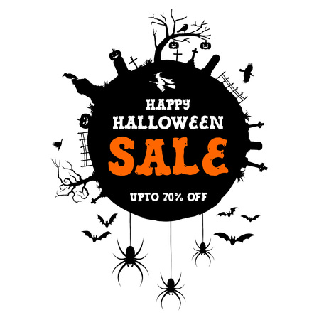 Halloween Sale Banner, with Halloween icons Illustration