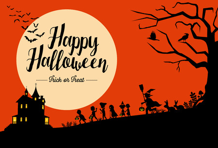Halloween background with silhouette of children walking.