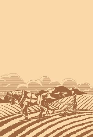 Rolnik orze z konia ilustracji wektorowych. Ilustracje wektorowe