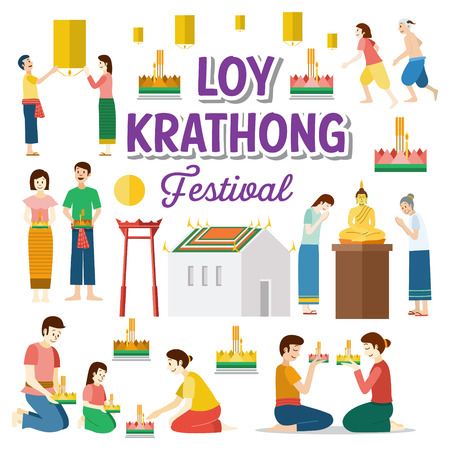 Loy Krathong. Thailand festival of paying respect to the water spirits. Vector Illustration